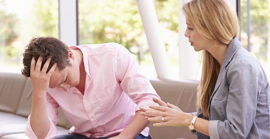man struggling with intimate partner violence