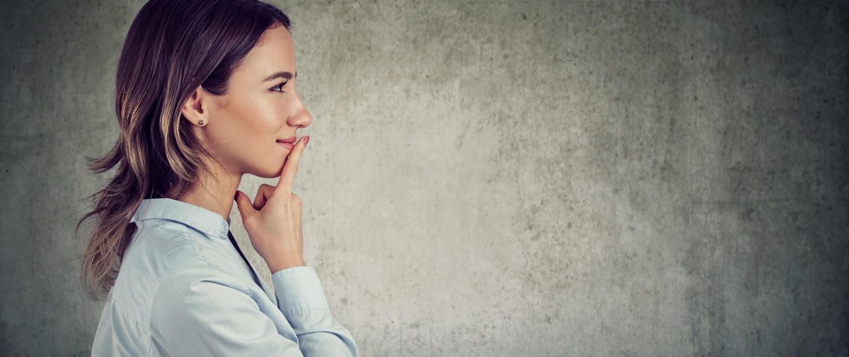 Woman thinking with emotional intelligence