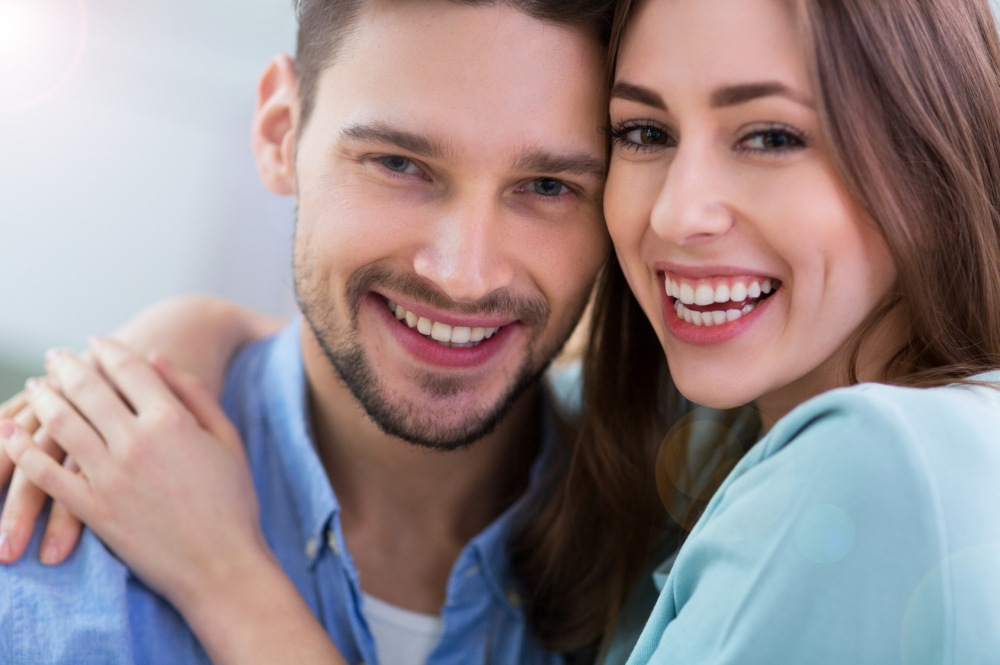 young couple practicing healthy relationship communication